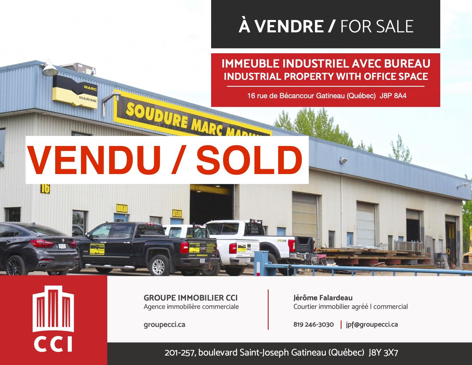 Vente d'un immeuble industriel dans le secteur du boulevard Saint-René Est à Gatineau