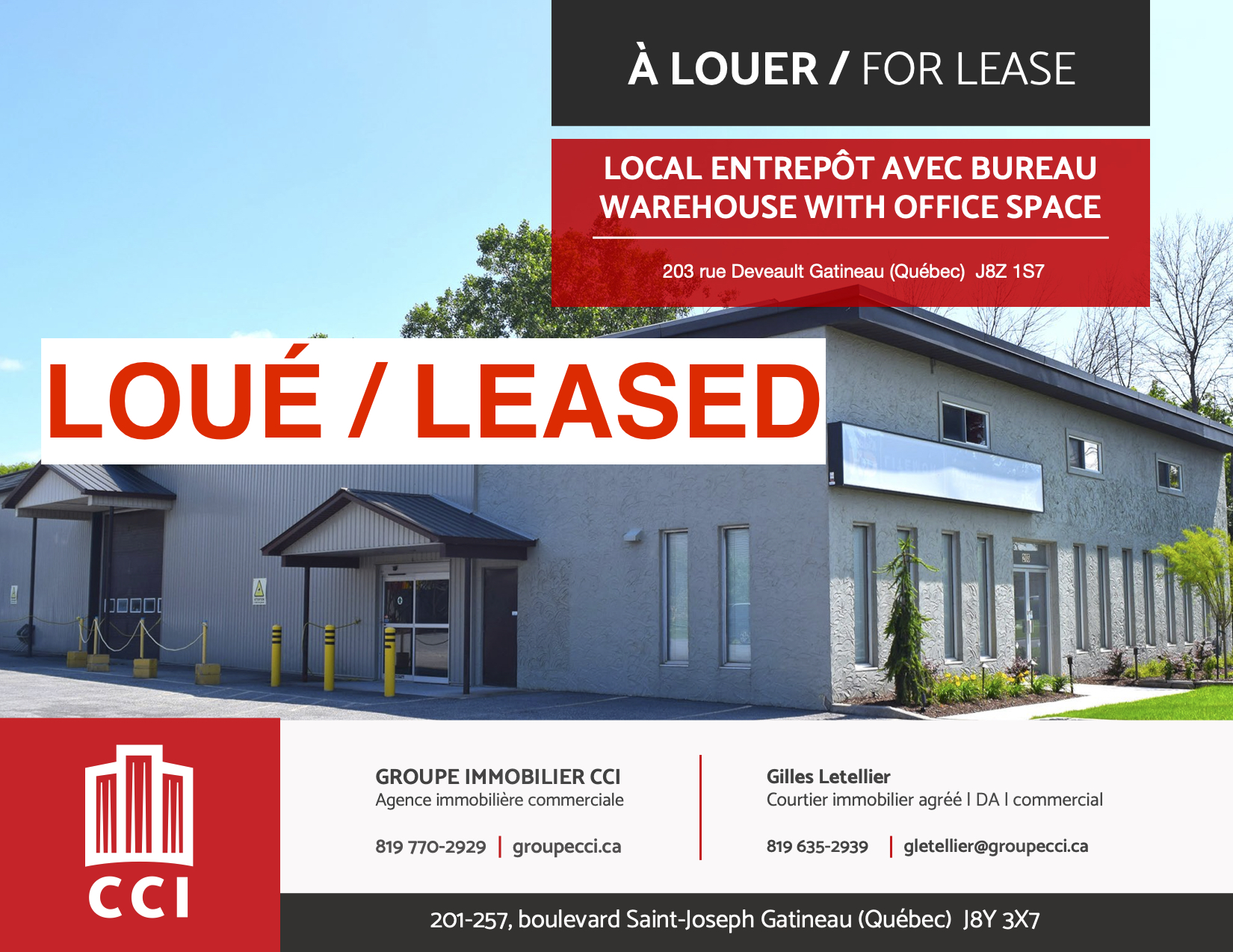Industrial Property Leased in Richelieu Park in Gatineau